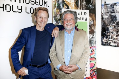 BERLIN, GERMANY - JUNE 22: Businessman Winfried Rothermel and artist Stefan Szczesny attend the 'Glatzel & Szczesny - New York & Saint Tropez meets Berlin' Exhibition Preview at Sankthorst Department Art Gallery on June 22, 2016 in Berlin, Germany. (Photo by Isa Foltin/Getty Images for Ajoure)