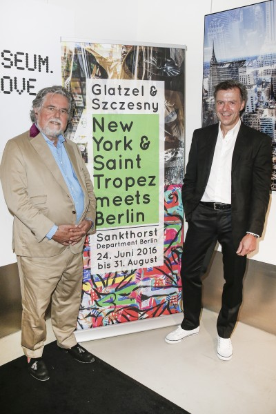 BERLIN, GERMANY - JUNE 22: Photographic artist Georg Glatzel and artist Stefan Szczesny attend the 'Glatzel & Szczesny - New York & Saint Tropez meets Berlin' Exhibition Preview at Sankthorst Department Art Gallery on June 22, 2016 in Berlin, Germany. (Photo by Isa Foltin/Getty Images for Ajoure)