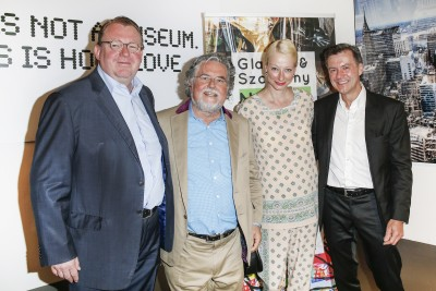 BERLIN, GERMANY - JUNE 22: Burkhard Uhlenbroich, artist Stefan Szczesny, photographic artist Georg Glatzel and guest attend the 'Glatzel & Szczesny - New York & Saint Tropez meets Berlin' Exhibition Preview at Sankthorst Department Art Gallery on June 22, 2016 in Berlin, Germany. (Photo by Isa Foltin/Getty Images for Ajoure)
