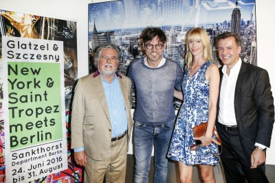 BERLIN, GERMANY - JUNE 22: Artist Stefan Szczesny, opera singer Tobey Wilson with his girlfriend Sabrina Gehrmann and Photographic artist Georg Glatzel attend the 'Glatzel & Szczesny - New York & Saint Tropez meets Berlin' Exhibition Preview at Sankthorst Department Art Gallery on June 22, 2016 in Berlin, Germany. (Photo by Isa Foltin/Getty Images for Ajoure)