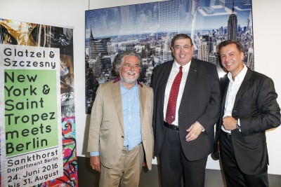 BERLIN, GERMANY - JUNE 22: Artist Stefan Szczesny, german politician Karl A. Lamers and photographic artist Georg Glatzel attend the 'Glatzel & Szczesny - New York & Saint Tropez meets Berlin' Exhibition Preview at Sankthorst Department Art Gallery on June 22, 2016 in Berlin, Germany. (Photo by Isa Foltin/Getty Images for Ajoure)