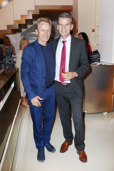 BERLIN, GERMANY - JUNE 22: Businessman Winfried Rothermel and politician Ingo Wellenreuther attend the 'Glatzel & Szczesny - New York & Saint Tropez meets Berlin' Exhibition Preview at Sankthorst Department Art Gallery on June 22, 2016 in Berlin, Germany. (Photo by Isa Foltin/Getty Images for Ajoure)