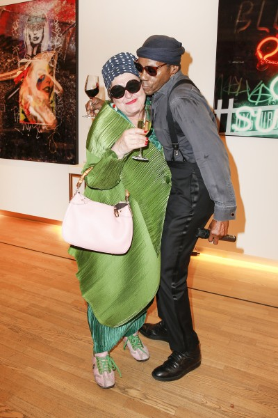 BERLIN, GERMANY - JUNE 22: Artist Elvira Bach and the singer of the band Daddy Hemingway and the Bad Bitches Club attend the 'Glatzel & Szczesny - New York & Saint Tropez meets Berlin' Exhibition Preview at Sankthorst Department Art Gallery on June 22, 2016 in Berlin, Germany. (Photo by Isa Foltin/Getty Images for Ajoure)