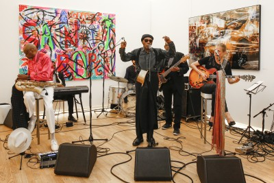 BERLIN, GERMANY - JUNE 22: The band Daddy Hemingway and the Bad Bitches Club attend the 'Glatzel & Szczesny - New York & Saint Tropez meets Berlin' Exhibition Preview at Sankthorst Department Art Gallery on June 22, 2016 in Berlin, Germany. (Photo by Isa Foltin/Getty Images for Ajoure)