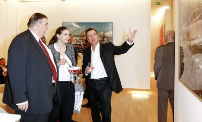 BERLIN, GERMANY - JUNE 22: German politician Karl A. Lamers, photographic artist Georg Glatzel and guest attend the 'Glatzel & Szczesny - New York & Saint Tropez meets Berlin' Exhibition Preview at Sankthorst Department Art Gallery on June 22, 2016 in Berlin, Germany. (Photo by Isa Foltin/Getty Images for Ajoure)