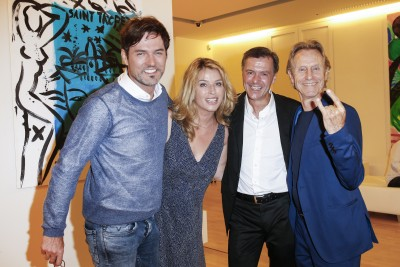 BERLIN, GERMANY - JUNE 22: Opera singer Tobey Wilson, german actress Cosima von Borsody, photographic artist Georg Glatzel and businessman Winfried Rothermel attend the 'Glatzel & Szczesny - New York & Saint Tropez meets Berlin' Exhibition Preview at Sankthorst Department Art Gallery on June 22, 2016 in Berlin, Germany. (Photo by Isa Foltin/Getty Images for Ajoure)